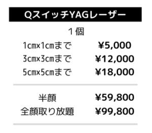 QスイッチYAGレーザー料金表